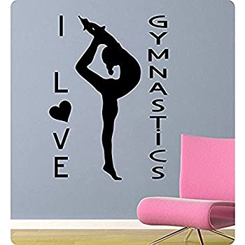I Love Heart Gymnastics Wall Decal Sticker Home Art Vinyl Removable Decor  Quote Tumble Flip Sport