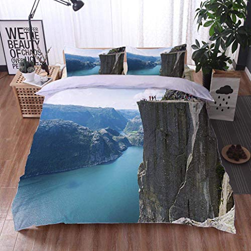 (VROSELV-HOME Cotton Bedding Sets,Pulpit Rock and Lysefjorden,Soft,Breathable,Hypoallergenic,Breathable Lightweight Soft 3 Pieces Duvet Cover)