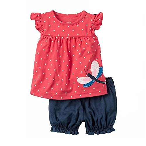 Hooyi Cute Toddler Baby Girls Clothes Set Short Sleeve T-Shirt Pants Kids 2pcs Outfits Dot Dragonfly Cotton Outfit (9M)