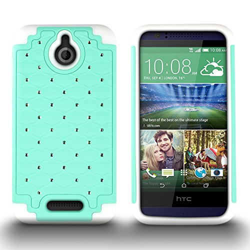 HTC Desire 510 Case, by CoverON Armor Bling Hybrid Gel Protector Diamond Cover - Teal Hard White Soft Silicone (Boost Htc 510 Desire Phone Cases)