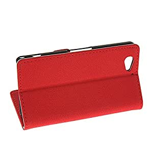 SHENGAA Leather Case Side Flip Wallet Slot Pouch Stand Shell Back Cover For Sony Xperia A2 Red