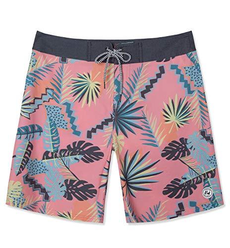 (SURF CUZ Men's Vintage Cruzer Stretch Boardshort Chino Shorts (Tropical - Pink, 36))