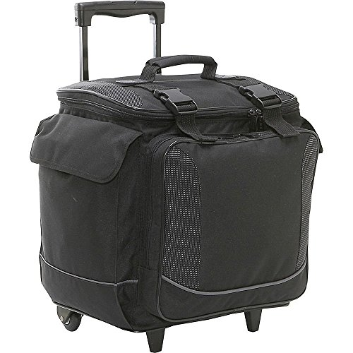 (Bellino Bottle Limo 12 Bottle Insulated Wine Tote Case Wheel Travel Cooler with Organizer, Black)