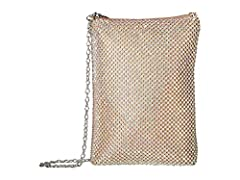 Shimmer and shine with the impressive Jessica McClintock™ Gina N/S Clutch on your arm. Made of man-made material. Zipper closure.  Chained crossbody strap. Lined interior.  Interior slip pocket.  Imported. Measurements:       Bottom Width: 5 ...