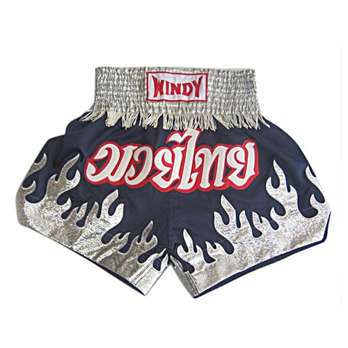 TopTie Muay Thai Boxing Shorts, Blue With Silver Color