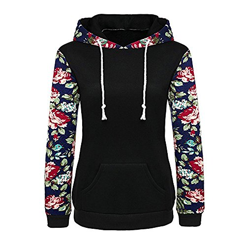 Clearance Sale!Toimoth Women's Long Sleeve Floral Printed Pocket Pullover Hoodies (Satin Halter Social Dress)