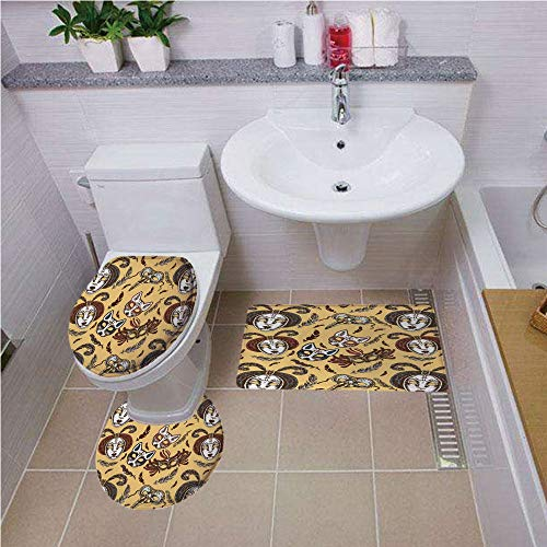 iPrint Bath mat Set Round-Shaped Toilet Mat Area Rug Toilet Lid Covers 3PCS,Masquerade,Venetian Style Paper Mache Face Mask with Feathers Dance Event Theme,Mustard Brown White,Customized Rug Set for $<!--$32.00-->