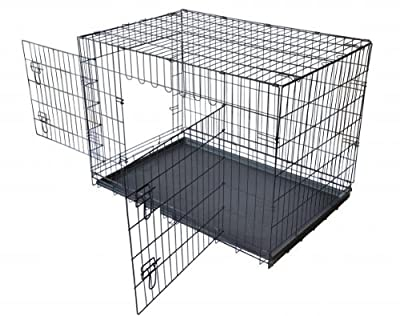 ALEKO® 48 Inch 2 Doors Folding Suitcase Dog Cat Crate Cage Kennel With ABS Tray