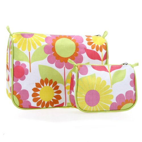 CLINIQUE 2 pc Floral Cosmetic Bag Set Clinique Eye Lip Gloss
