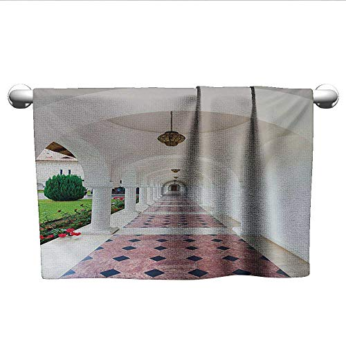 alisoso Travel,Best Bath Towels Dome Arched Colonnade Hallway at Sambata De Sus Monastery in Transylvania Romania Sports Ttowel White Green W 28