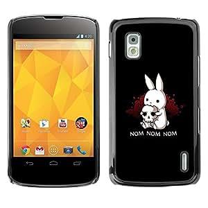 Caucho caso de Shell duro de la cubierta de accesorios de protección BY RAYDREAMMM - LG Google Nexus 4 E960 - Black Monster Cute Bunny Skull Funny