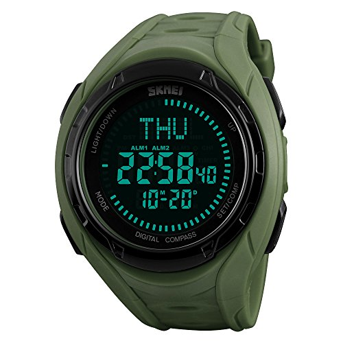 SKMEI 1314 Outdoor Sports Compass Watches Men's Watches Hiking LED Digital Men Chronograph Waterproof Wristwatches Relogio Masculino (Army Green)