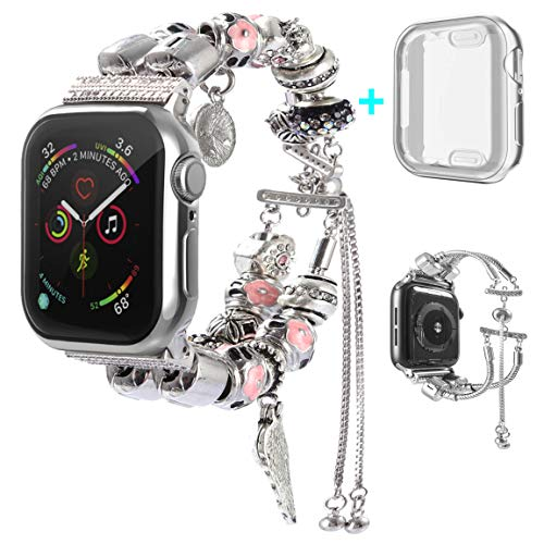 KoudHug 2 in 1 DIY Bracelet Compatible Apple Watch Band 38mm 40mm 42mm 44mm with Case iWatch Series 4 3 2 1, Jewelry Beaded Apple Watch Band Women Cuff Wristband (Silver, 38mm Band/Case)