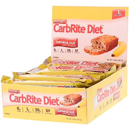 Universal Nutrition Doctor s CarbRite Diet Chocolate Covered Banana Nut with Almonds 12 Bars 2 oz 56 7 g Each (Carbrite Chocolate Diet Doctors)