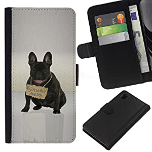 All Phone Most Case / Oferta Especial Cáscara Funda de cuero Monedero Cubierta de proteccion Caso / Wallet Case for Sony Xperia Z1 L39 // Cute French Bulldd - Russian Message
