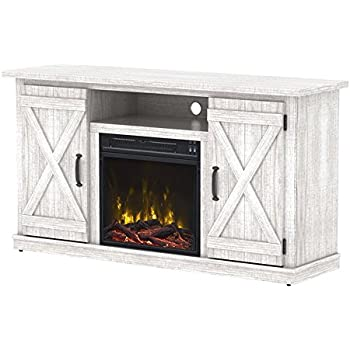 Amazon Com Hogan Electric Fireplace Tv Stand With Logset Weathered