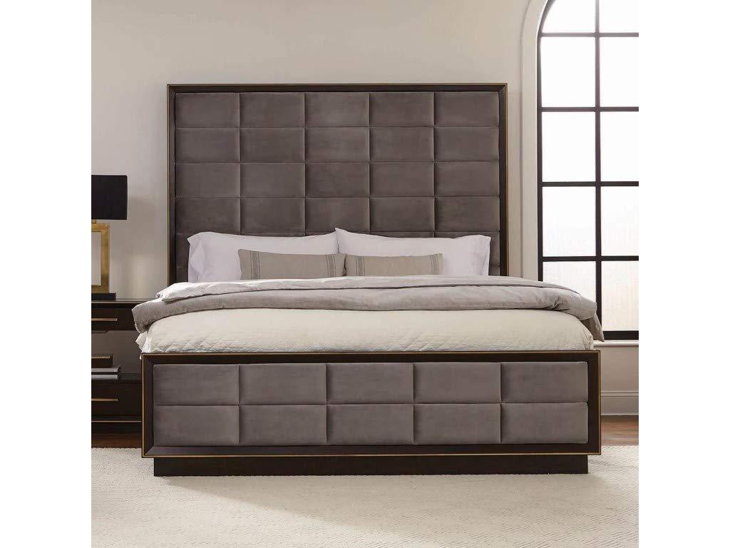 Scott Living 215711KE Ingerson Upholstered Eastern Bed, King, Smoked Peppercorn/Grey