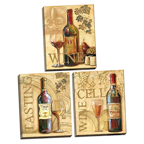 3 Wine Grape Art Tuscany Canvases; Kitchen Décor; Three 8x10in Hand-Stretched Canvases, Ready to Hang!