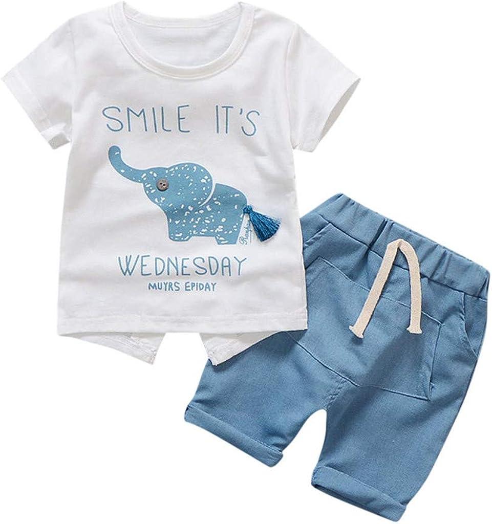 Shorts Set Womola Toddler Kids Baby Girl Clothes 2pcs Outfits Short-Sleeved Cartoon Elephant Print Shirt t-Shirt