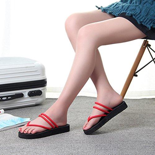 Fheaven Vrouwen Lage Platform Platte Schoenen Flip Flops Sandalen Peep-toe Riem Slipper Casual Sandalen Rood