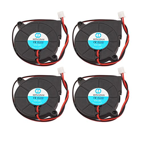 WINSINN 5015 12V DC Cooling Fan 50x50x15mm for DIY 3D Printer Extruder Hotend Makerbot MK7 MK8 CPU Chip Arduino - 2Pin 0.15A 1.8W 5000+-10% RPM (Pack of 4Pcs)