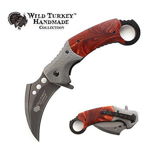 Wild Turkey Handmade Heavy Duty Hawk Bill Designed Karambit Spring Assisted Knife Hunting Camping Fishing Outdoors Lightning Fast Deployment - Razor Sharp Blade (Brown)
