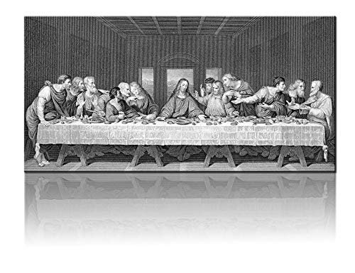 Black and White Wall Art The Last Supper Decor by Leonardo da Vinci Pictures Cuadros De Pared De Sala Painting on Canvas Moderm Home Artwork for Living Room Giclee Framed Ready to Hang(24
