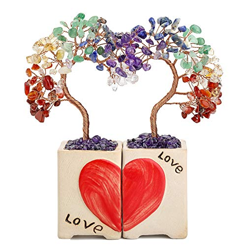 Top Plaza 7 Chakra Healing Crystals Stones Tree Home Desk Decoration 2 Pcs Couples Love Heart Decor Valentines Day Gifts…
