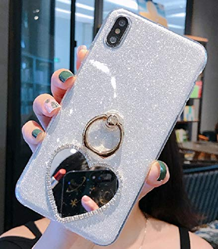 Price comparison product image Cfrau 2 in 1 Glitter Case with Black Stylus for Samsung Galaxy A20 / A30, Luxury Crystal Diamond Makeup Love Heart Mirror Soft TPU Case with 360 Ring Holder Kickstand for Samsung Galaxy A20 / A30, Silver
