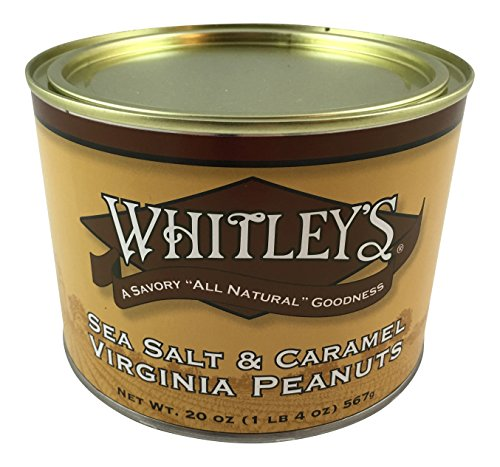 Whitley's Sea Salt & Caramel Virginia Peanuts - 20 Oz. Tin (Extra Large Peanuts Tin)