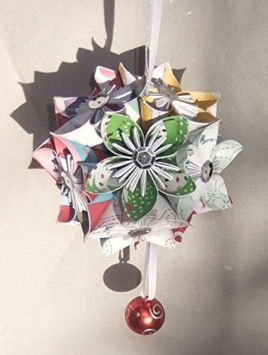 Cheerful Origami Christmas Tree Ornament Small (Kusudama Flowers Christmas)