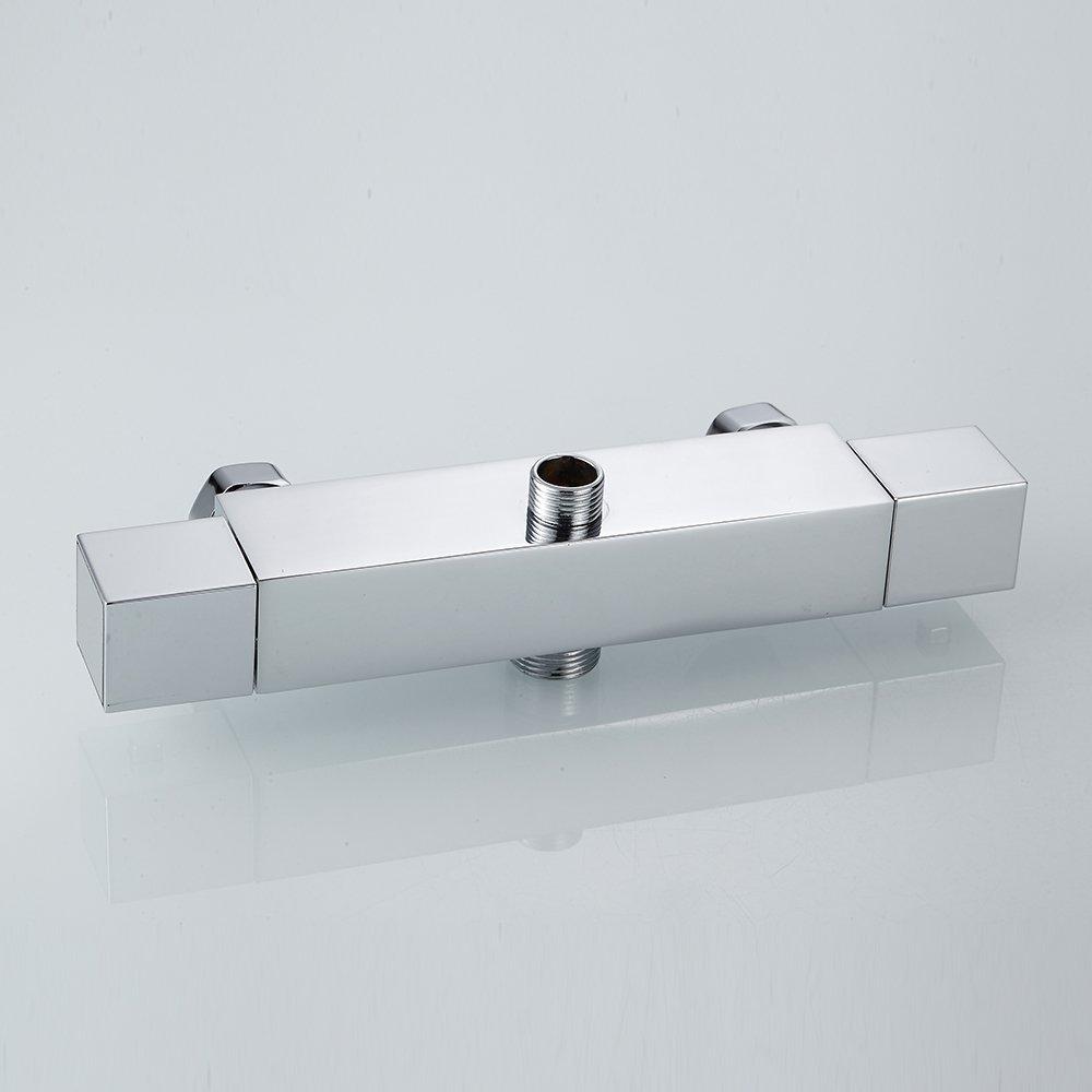 Miscelatore termostatico per doccia rubinetto quadrato moderno cromato doppia uscita valvola termostatica anti Scald rubinetti