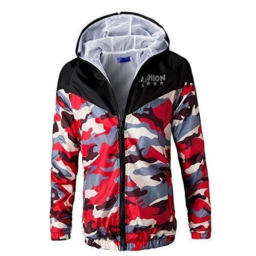 (minRan Slim Mens Fit Lightweight Camouflage Zip up Hoodie Hooded Line Long Sleeve Sweatshirt Hoodie)