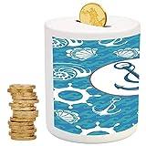 Nautical Decor,Money Bank for Kids,Printed Ceramic Coin Bank Money Box for Cash Saving,Sea Theme Doodle Nostalgia Sailboat Seaman Adventurous Travels Lifestyle Decorative