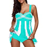 Clearance Sale Women's Tankini Sets Plus Size,Swimdress and Boy Shorts Swimwear Swimsuit (Stripe Sky Blue, 4XL)