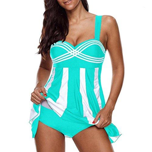 Clearance Sale Women's Tankini Sets Plus Size,Swimdress and Boy Shorts Swimwear Swimsuit (Stripe Sky Blue, 5XL) by Aurorax-Swimwear