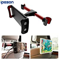 Ipeson Car Headrest Mount, Car Seat Tablet Holder / Car Mount Headrest Universal Mount Holder for iPad, Samsung Galaxy, Nintendo Switch, Fits all 4 to 10.5 inch Smartphones and Tablets (Red-black)