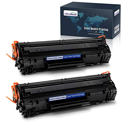 (OfficeWorld Compatible Toner Cartridge Replacement for HP CE285A 85A CB435A 35A CB436A 36A for HP Laserjet Pro P1102w P1109w M1212nf M1217nfw P1005 P1006 M1522nf P1505 P1505N (Black, 2-Pack))