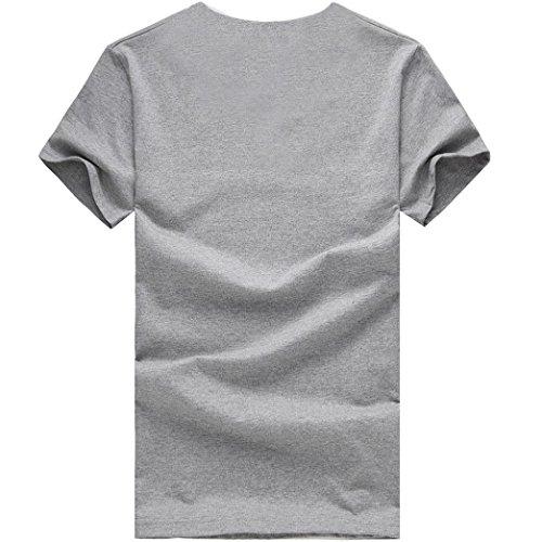 Camicia shirt Particolari Casual Estiva Vintage Maglione Magliette Sportivi Stampa Corte Maglietta Corta Uomo Elegante T Tumblr Grigio Homebaby® Manica Stretch Cotone dfzqAd