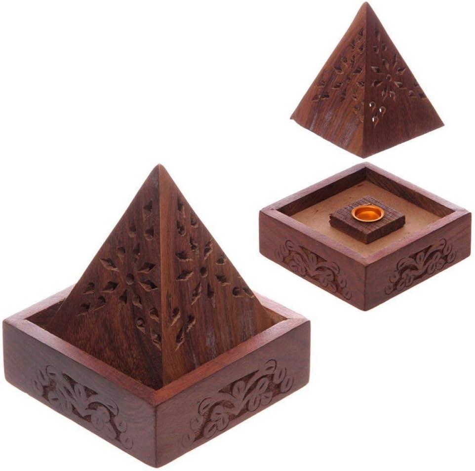 Puckator Sheesham - Caja de Incienso con Forma de pirámide (10 x 9 x 9 cm), Color marrón