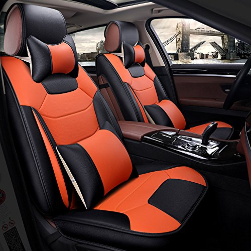 Car Seat Orange Cover - Super PDR 13pcs 5 Seats Full Set Universal fit car seat Cover Faux Leather seat Cushion Airbag Compatible,Armrest pad Neck & Lumbar Pillow (Black& Orange, L)