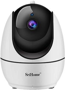 Opinión sobre SriHome Cámara de interiores con WiFi 1080P con visión nocturna HD, detección de movimiento, audio de 2 vías, vigilancia en el hogar, monitor de inclinación de la panorámica para bebé anciano mascota