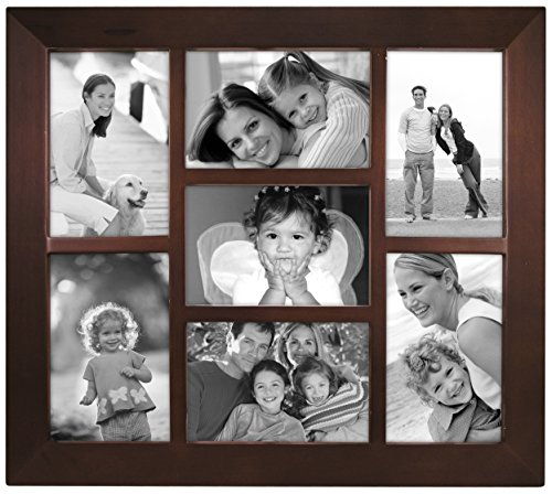 malden international designs berkeley beveled edge wood collage picture frame 7 option 7 4x6 walnut