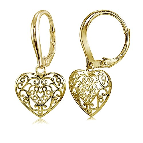 (Hoops & Loops Yellow Gold Flashed Sterling Silver High Polished Filigree Heart Dangle Leverback Earrings)