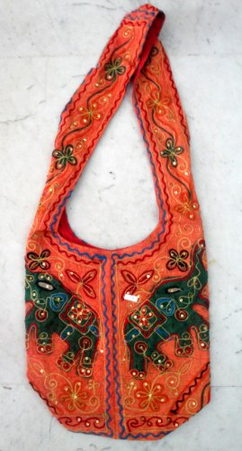 Cotton Canvas Sequin Embroidered Elephant Handcrafted Sitara Work Tote Hippie Indian Sling Cross Body Bag (Bag Sequin Hobo Tote)