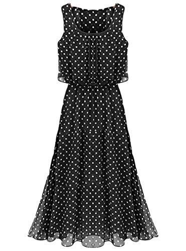 OURS Womens Sleeveless Polka Dot Maxi Long Casual Summer Beach Party Chiffon Dress (L, Black)