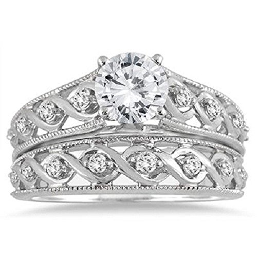 Silvernshine Jewels 1.25 Carat Diamond Engagement Infinity Antique Bridal Set Ring 14k White Gold Fn ()
