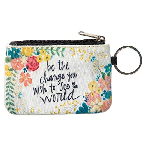 Brownlow Gifts Simple Inspirations Zippered Slim Wallet with Keychain and ID Window, Be The Be The Change
