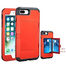 iPhone 7 Plus Case, NOKEA Mirror Wallet Case Card Slot Hidden Pocket Layered 3 in 1 Hard PC Case Silicone Shockproof Heavy Duty High Impact Armor Hard Case for iPhone 7 Plus (Red)