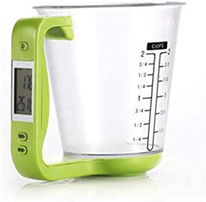 DOITOOL 1PCS Digital Measuring Cup with Scale,Digital Kitchen Food Scale and Measuring Cup,4 Cup Liquid Measuring Cups with LCD Display for Weigh Measurement for Kitchen (Light Green)